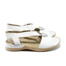 Дамски сандали - естествена кожа - бели - EO-6124