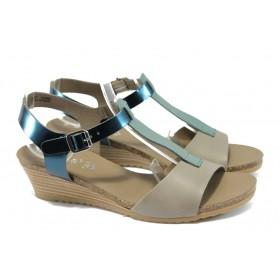 Дамски сандали - естествена кожа - бежови - EO-6181