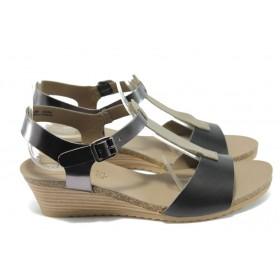 Дамски сандали - естествена кожа - черни - EO-6157
