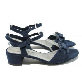 Дамски сандали - висококачествен еко-велур - сини - EO-6156