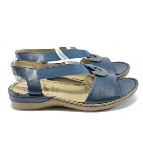 Дамски сандали - естествена кожа - сини - EO-6158