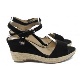Дамски сандали - естествен набук - черни - EO-6159