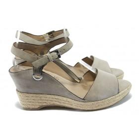 Дамски сандали - естествен набук - бежови - EO-6182
