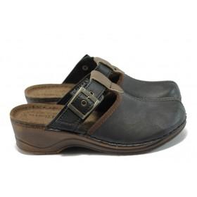 Дамски чехли - висококачествена еко-кожа - черни - EO-6201