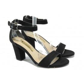 Дамски сандали - висококачествен еко-велур - черни - EO-6200