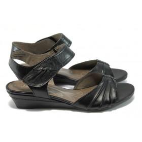 Дамски сандали - естествена кожа - черни - EO-6264