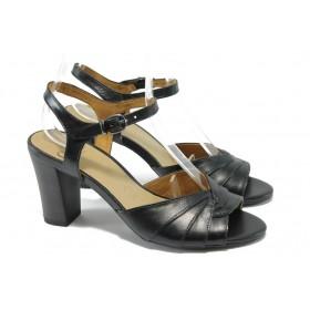 Дамски сандали - естествена кожа - черни - EO-6265