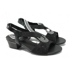 Дамски сандали - естествена кожа - черни - EO-6386