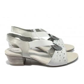 Дамски сандали - естествена кожа - сиви - EO-6392