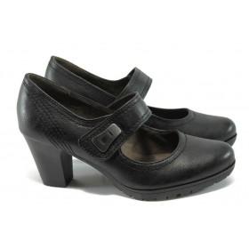 Дамски обувки на висок ток - висококачествена еко-кожа - черни - EO-6590