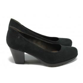 Дамски обувки на среден ток - висококачествен текстилен материал - черни - EO-6616