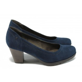Дамски обувки на среден ток - висококачествен текстилен материал - сини - EO-6617