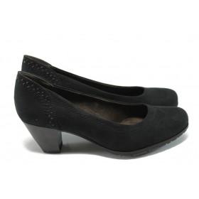 Дамски обувки на среден ток - висококачествен текстилен материал - черни - EO-6614