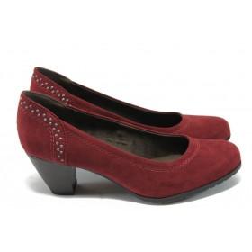 Дамски обувки на среден ток - висококачествен текстилен материал - бордо - EO-6615