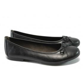 Равни дамски обувки - висококачествена еко-кожа - черни - Jana 8-22163-25 черна кожа