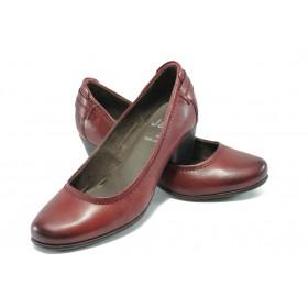 Дамски обувки на среден ток - естествена кожа - бордо - Jana 8-22404-25 бордо ANTISHOKK