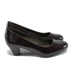 Дамски обувки на среден ток - еко кожа-лак - бордо - Jana 8-22463-24 бордо лак