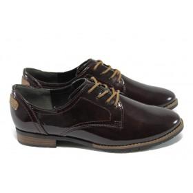 Равни дамски обувки - еко кожа-лак - бордо - Jana 8-23260-25 бордо лак