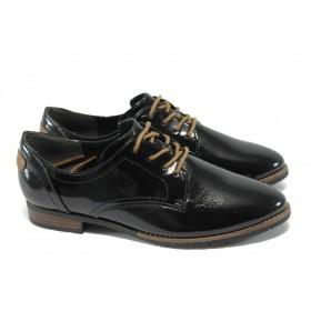 Равни дамски обувки - еко кожа-лак - черни - Jana 8-23260-25 черен лак