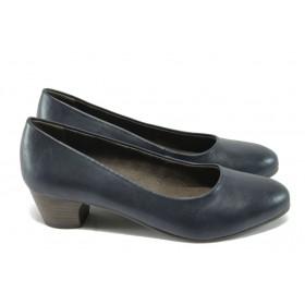 Дамски обувки на среден ток - висококачествена еко-кожа - сини - Jana 8-22360-25 син