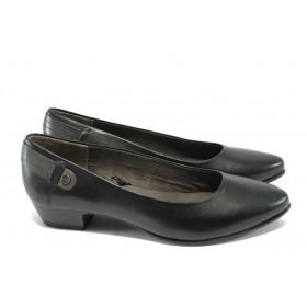 Дамски обувки на среден ток - естествена кожа - черни - Jana 8-22200-25 черен
