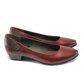 Дамски обувки на среден ток - естествена кожа - бордо - Jana 8-22200-25 бордо