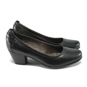 Дамски обувки на среден ток - естествена кожа - черни - Jana 8-22404-25 черен ANTISHOKK