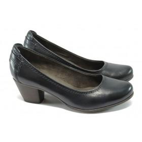 Дамски обувки на среден ток - естествена кожа - сини - Jana 8-22404-25 син ANTISHOKK