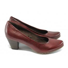 Дамски обувки на висок ток - естествена кожа - бордо - S.Oliver 5-22433-35 бордо