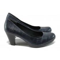 """Дамски обувки на висок ток - еко-кожа с """"кроко"""" мотив - тъмносин - Marco Tozzi 2-22420-25 т.син"""