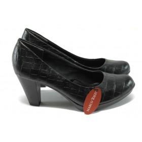 """Дамски обувки на висок ток - еко-кожа с """"кроко"""" мотив - черни - Marco Tozzi 2-22420-25 черен"""