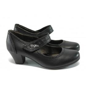 Дамски обувки на среден ток - естествена кожа - черни - Jana 8-24302-25 черен ANTISHOKK