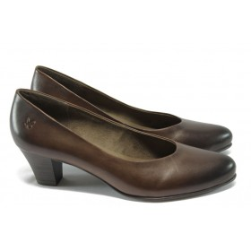 Дамски обувки на среден ток - естествена кожа - кафяви - Caprice 9-22306-25 кафяв