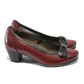 Дамски обувки на среден ток - естествена кожа - бордо - Caprice 9-22308-25 бордо ANTISHOKK