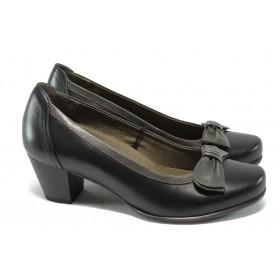 Дамски обувки на среден ток - естествена кожа - черни - Caprice 9-22308-25 черен ANTISHOKK