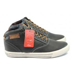 Спортни мъжки обувки - висококачествена еко-кожа - черни - S.Oliver 5-15240-25 черен