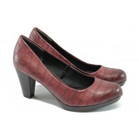 """Дамски обувки на висок ток - еко-кожа с """"кроко"""" мотив - бордо - Marco Tozzi 2-22420-25 бордо"""