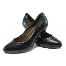 Дамски обувки на висок ток - естествена кожа - черни - Caprice 9-22412-25 черен