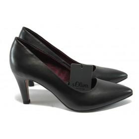 Дамски обувки на висок ток - естествена кожа - черни - S.Oliver 5-22432-25 черен