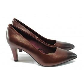 Дамски обувки на висок ток - естествена кожа - бордо - S.Oliver 5-22432-25 бордо