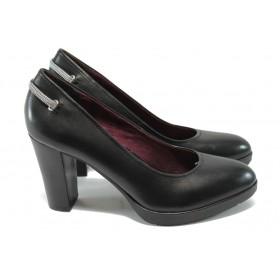 Дамски обувки на висок ток - естествена кожа - черни - S.Oliver 5-22404-25 черен