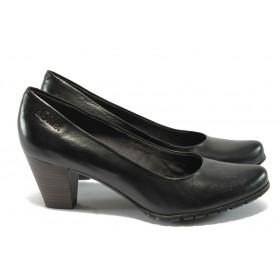 Дамски обувки на висок ток - естествена кожа - черни - S.Oliver 5-22433-35 черно