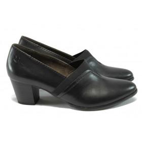 Дамски обувки на среден ток - естествена кожа - черни - Caprice 9-24403-25 черен ANTISHOKK