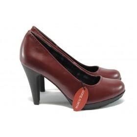 Дамски обувки на висок ток - висококачествена еко-кожа - бордо - Marco Tozzi 2-22406-25 бордо