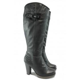 Дамски ботуши - висококачествена еко-кожа - черни - S.Oliver 5-25505-25 черен