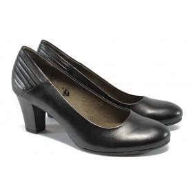 Дамски обувки на среден ток - естествена кожа - черни - Caprice 9-22403-25 черен