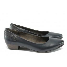Дамски обувки на среден ток - естествена кожа - тъмносин - Jana 8-22200-25 т.син