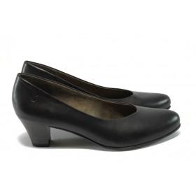 Дамски обувки на среден ток - естествена кожа - черни - Caprice 9-22306-25 черен