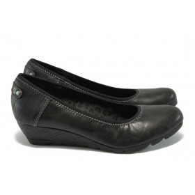 Дамски обувки на платформа - висококачествена еко-кожа - черни - S.Oliver 5-22310-35 черен