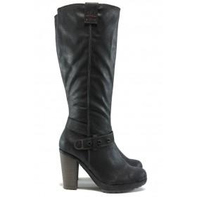 Дамски ботуши - висококачествена еко-кожа - черни - S.Oliver 5-25603-25 черен
